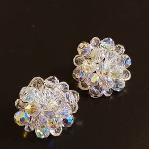💕Vintage Clear Bead Clip Earrings